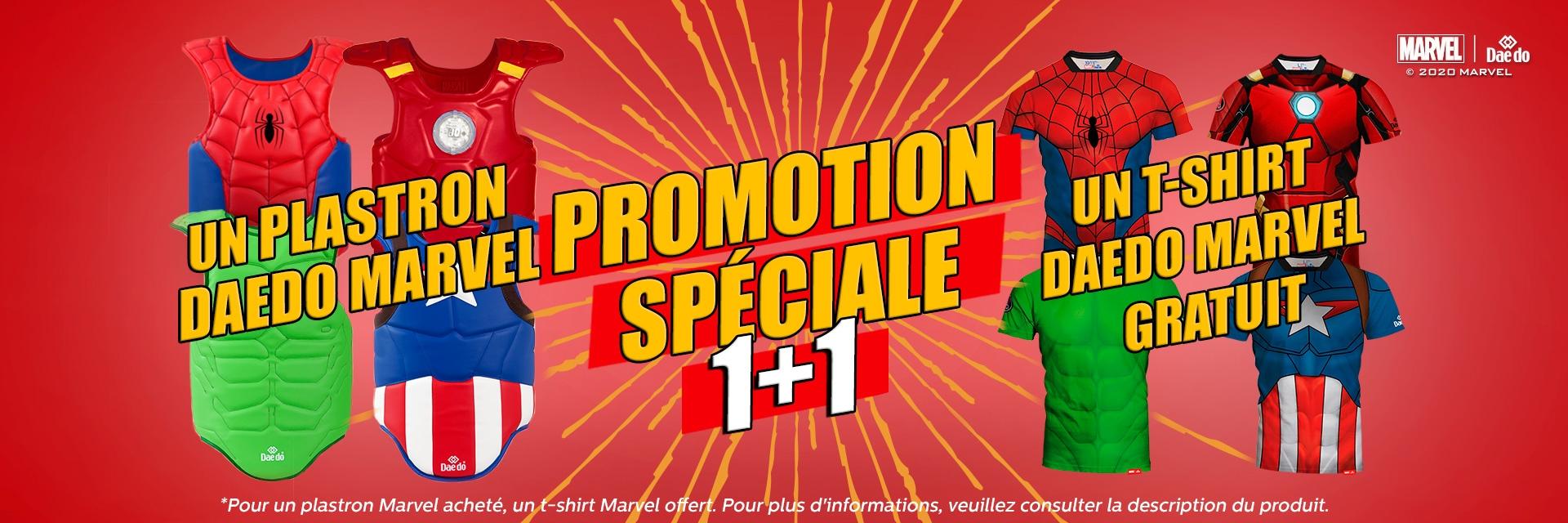 Promotion spéciale - Un plastron Daedo Marvel + Un t-shirt Daedo Marvel gratuit